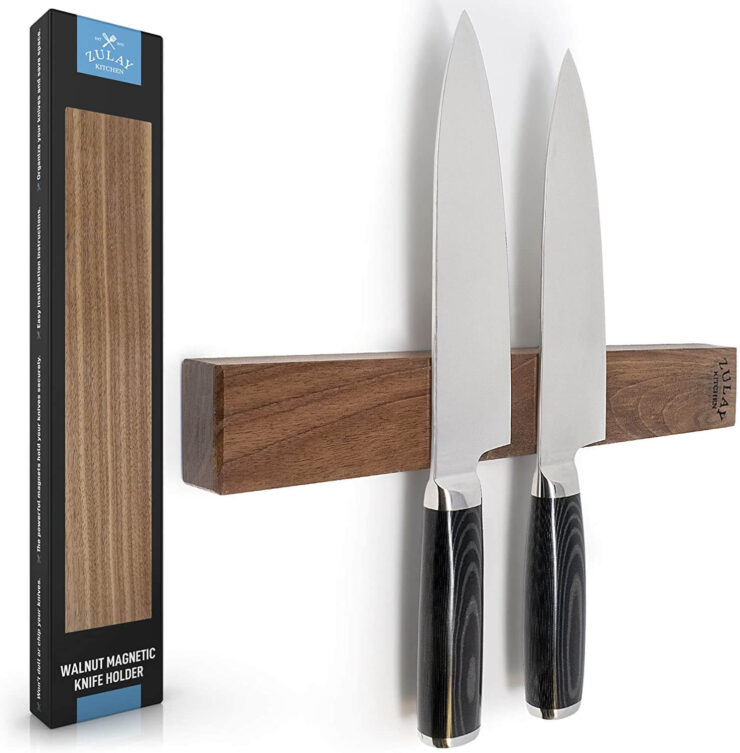 Zulay Seamless Walnut Wood Magnetic Knife Holder